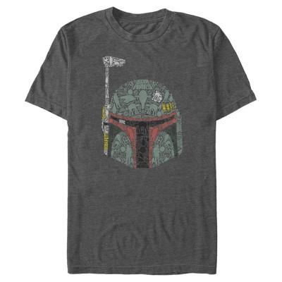 Men's Star Wars Boba Fett Silhouette Helmet Fill T-Shirt