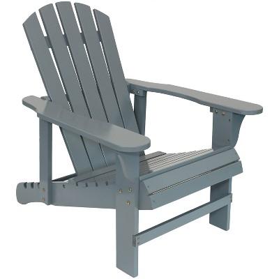 Sunnydaze Outdoor Natural Fir Wood Lounge Backyard Patio Adirondack Chair with Adjustable Backrest - Gray