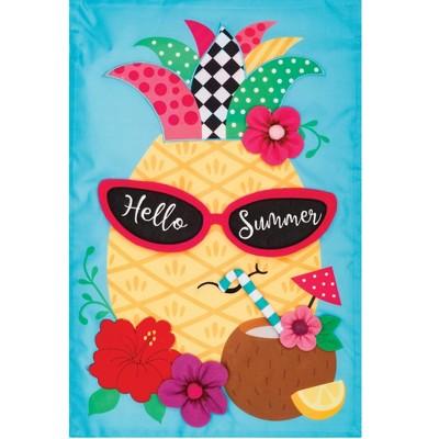"""Home & Garden 18.0"""" Pineapple Shades Applique Flag Hello Summer Custom Decor  -  Flags"""