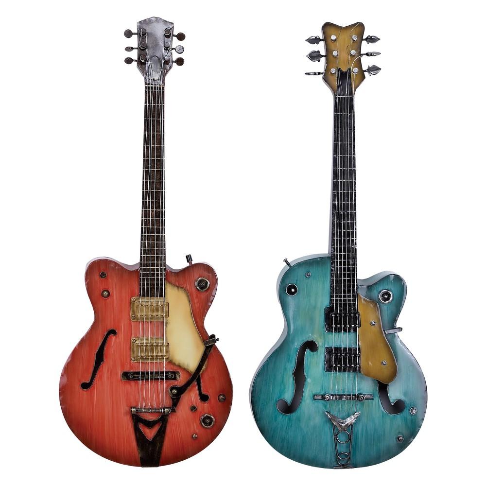 Metal Guitar Decorative Wall Art 35 X14 (Set of 2) - Olivia & May, Multi-Colored