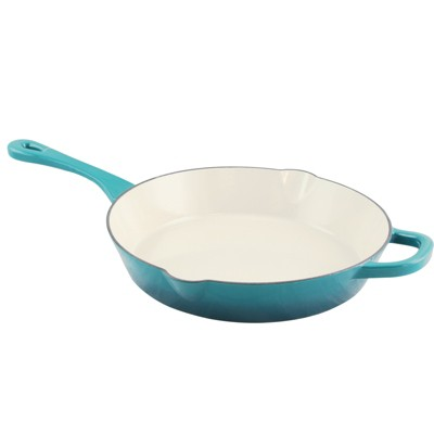 Crock Pot Artisan Enameled 12in Round Cast Iron Skillet in Teal Ombre