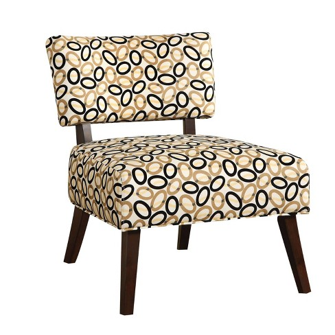 Accent Chair In Printed Fabric Cream/Black - Benzara - image 1 of 4