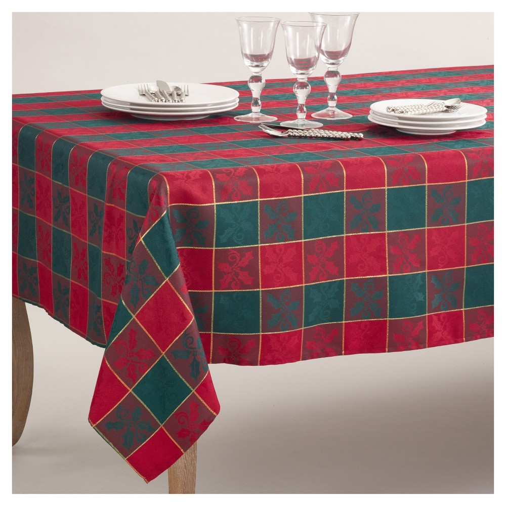 """Image of """"Red/Green Plaid Design Holly Pattern Classic Christmas Tablecloth (65""""""""x140"""""""") - Saro Lifestyle, Holly Berry"""""""