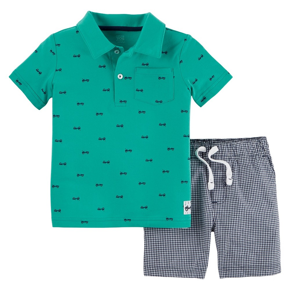 Toddler Boys' 2pc Shorts Set - Just One You Made by Carter's Teal 6, Gentle Teal