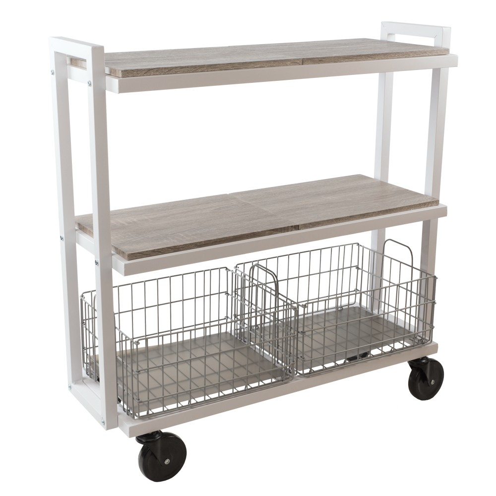 Image of Cart System with wheels 3 Tier White - Urb Space