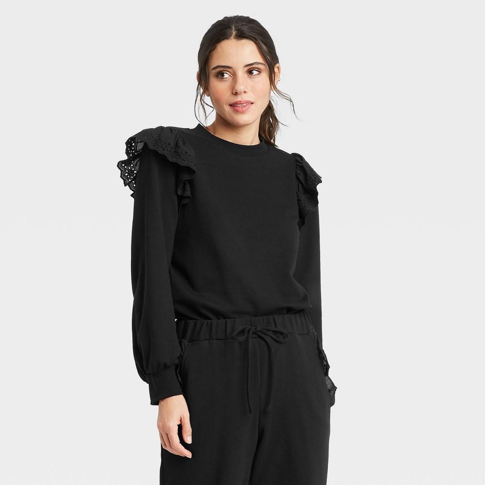 Women 39 S Puff Sleeve Sweatshirt Who What Wear 8482 Black M