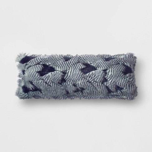 Indigo Peacock Faux Fur Oversized Oblong Throw Pillow - Opalhouse™ - image 1 of 2