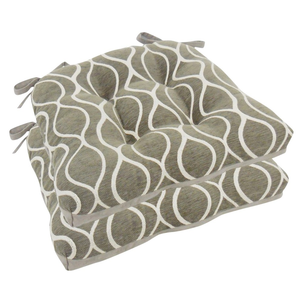 Image of Charcoal Heather Gemma Chenille Geometric Chair Pads With Tiebacks (Set Of 4) - Essentials