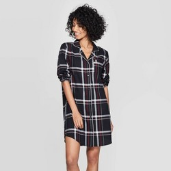 Women's Plaid Perfectly Cozy Flannel Shirtdress - Stars Above™ Black
