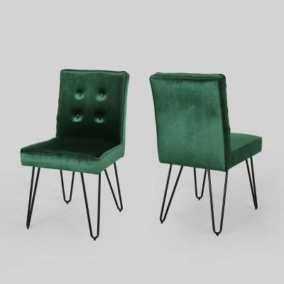 Set of 2 Carlstad Glam Tufted Velvet Dining Chairs Emerald - Christopher Knight Home