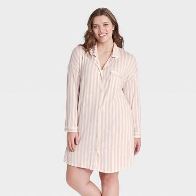 Women's Striped Beautifully Soft Notch Collar Nightgown - Stars Above™ Pink