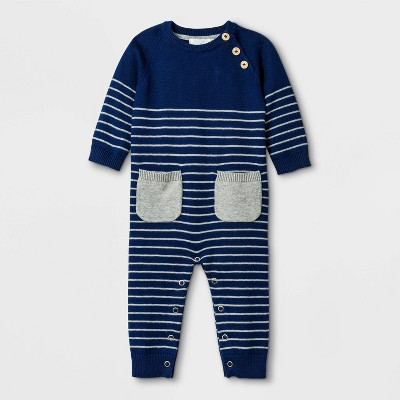 Baby Boys' Basic Striped Coveralls - Cloud Island™ Navy 3-6M