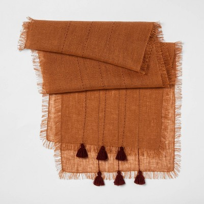72 X14  Woven Table Runner with Tassels Orange - Opalhouse™