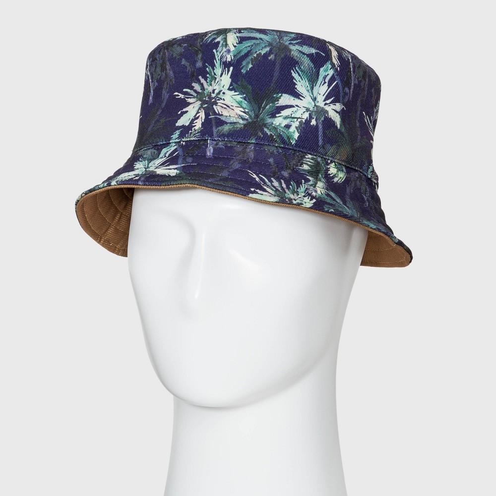 f721203db Mens Palm Print Reversible Bucket Hat Original Use ML Multicolored