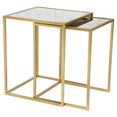 Incroyable Elegantly Slim Nesting Tables   Brass   Zm Home