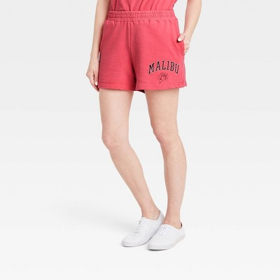 Women's Malibu Rose Graphic Jogger Shorts - Red