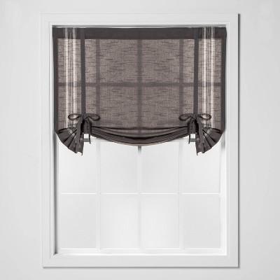 "63""x42"" Striped Light Filtering Balloon Window Shade Gray/Cream - Threshold™"