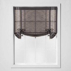"63""x42"" Striped Light Filtering Balloon Window Shade Gray/Cream - Threshold™"