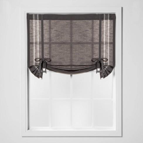 "63""x42"" Striped Light Filtering Balloon Window Shade Gray/Cream - Threshold™ - image 1 of 4"