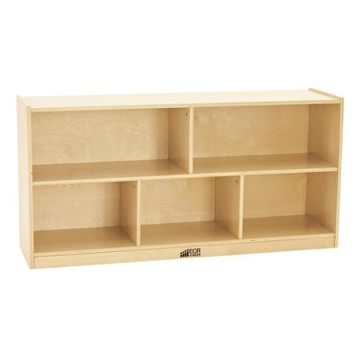 ECR4Kids Birch 5-Section Classroom Storage Cabinet with Casters, Organizer Shelf, Natural