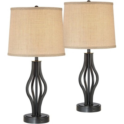 360 Lighting Modern Table Lamps Set of 2 with Hotel Style USB Charging Port Iron Bronze Drum Shade for Living Room Family Bedroom Office
