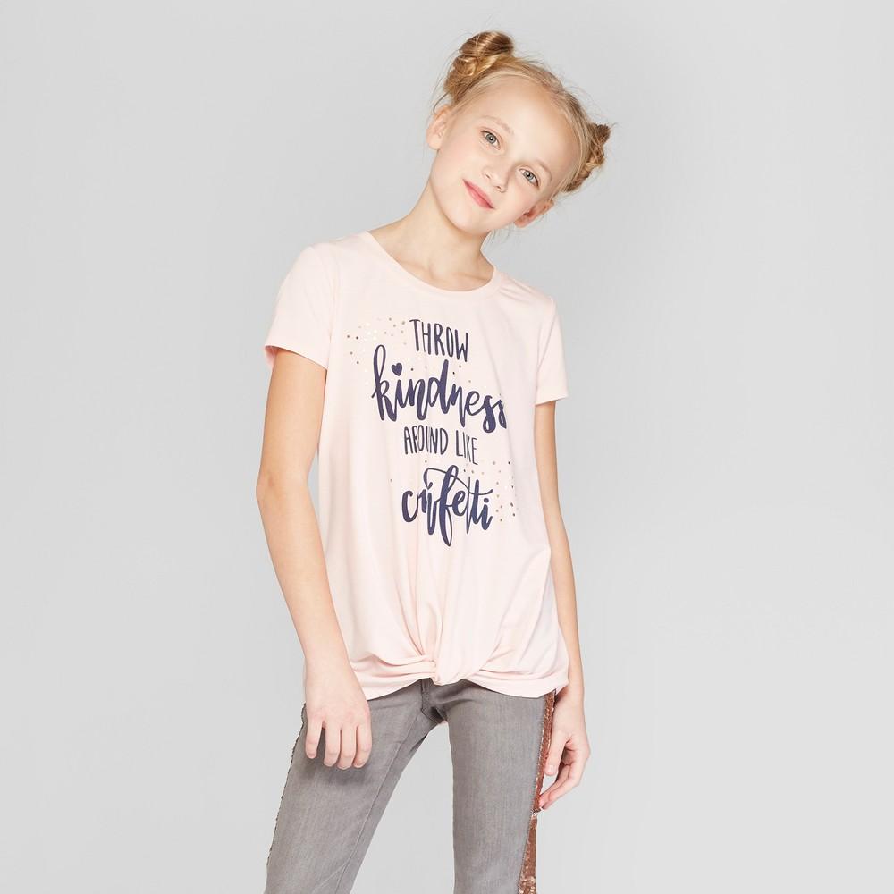 Girls' Short Sleeve Twist Front T-Shirt - art class Light Brown M, Pink
