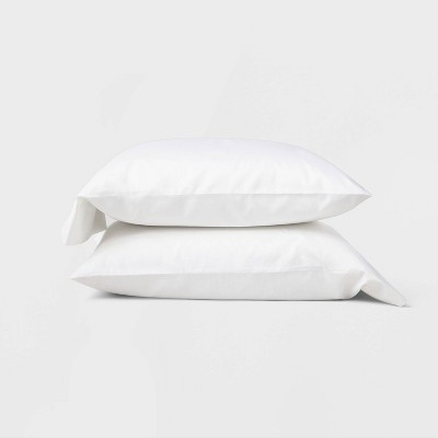 Standard 500 Thread Count Washed Supima Sateen Solid Pillowcase Set White - Casaluna™