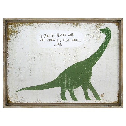 If You're Happy Dinosaur Framed Art - Pillowfort™ - image 1 of 2