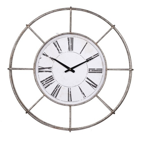 Station Wall Clock Silver - A&B Home - image 1 of 1