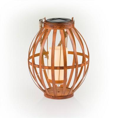 "Alpine 10"" Solar Metal Lantern with Flickering LED Light Brown"