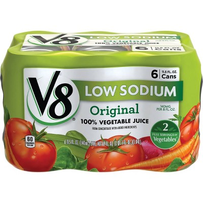 V8 Original Low Sodium 100% Vegetable Juice - 6pk/11.5 fl oz Cans