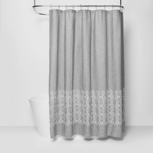 Embroidered Shower Curtain Gray - Threshold™ - image 1 of 4