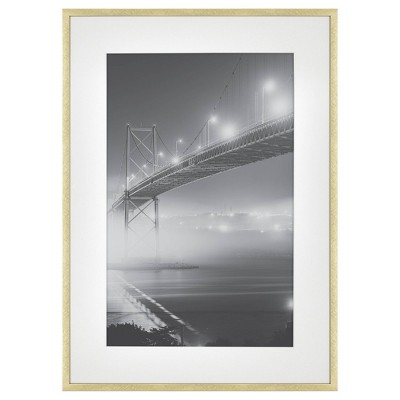 """15"""" x 21"""" Matted to 11"""" x 17"""" Thin Metal Gallery Frame Brass - Project 62™"""