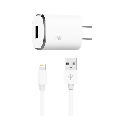 Just Wireless 2.4A/12W 1-Port USB-A Home Charger with 6ft TPU Lightning to USB-A Cable - White