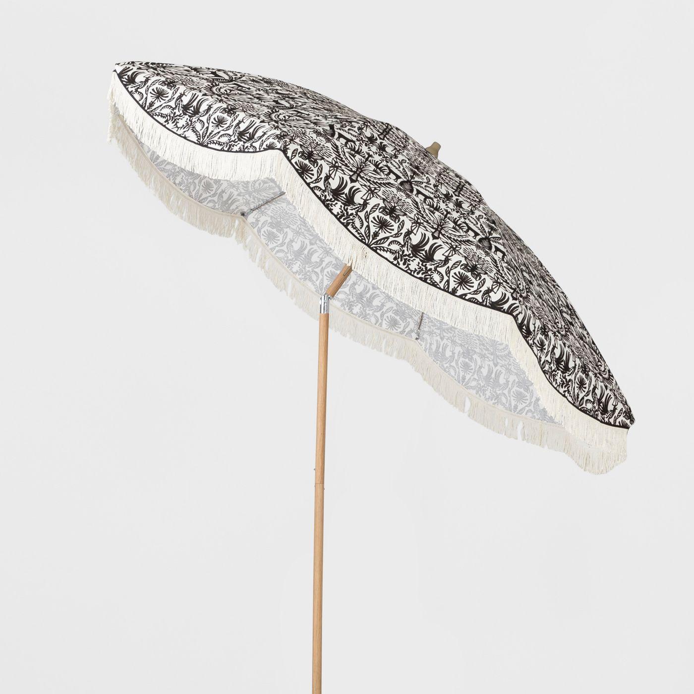 9' Scalloped Patio Umbrella Eulalia Black White Fringe - Light Wood Pole - Opalhouse™ - image 2 of 2