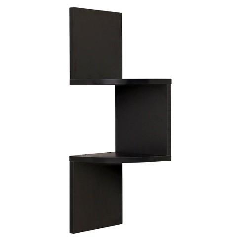 Danya B Laminated Corner Wall Shelf Black