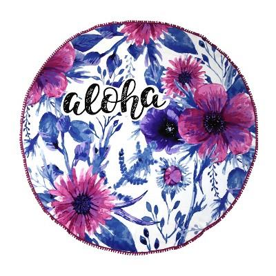 Roundie Aloha Printed Beach Towel Pink/Blue - Peach & Oak