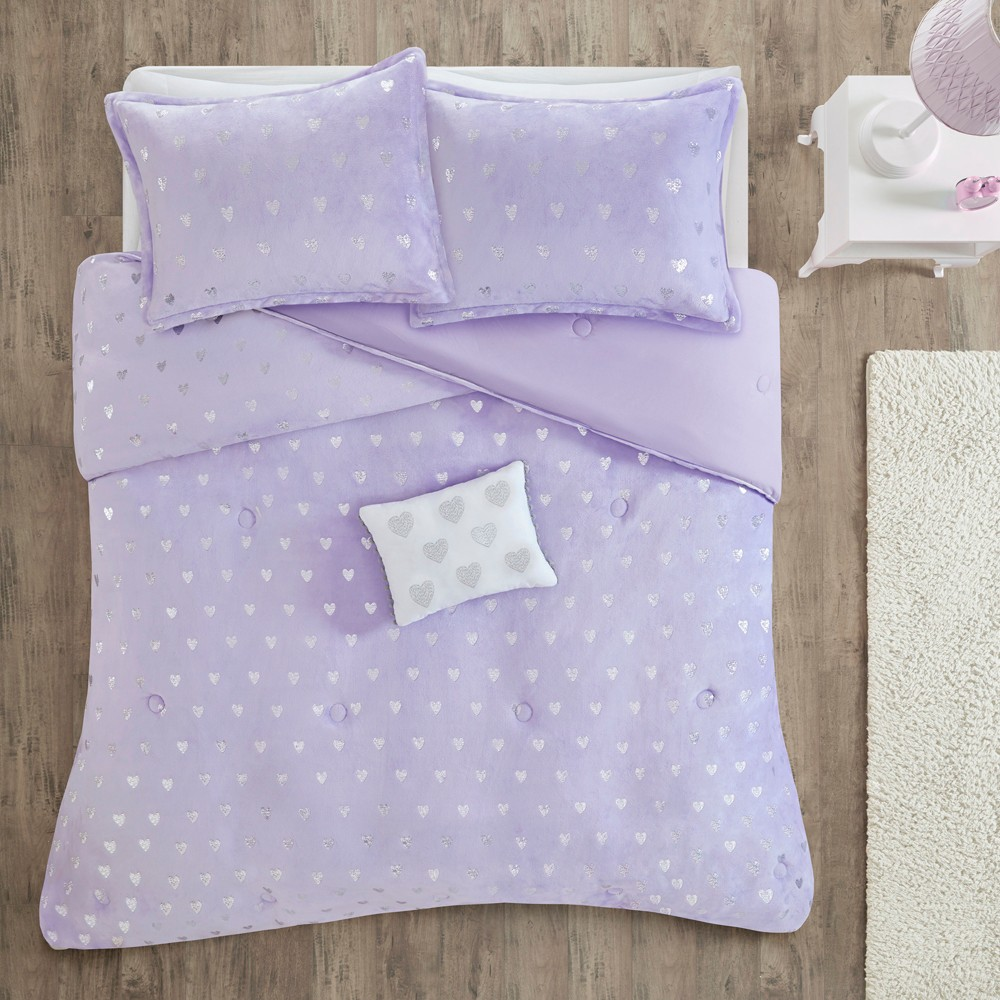 3pc Twin/Twin XL Audrey Printed Comforter Set Purple/Silver