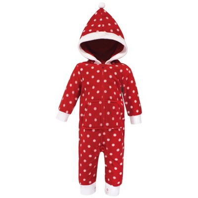 Hudson Baby Infant Girl Fleece Jumpsuits, Coveralls, and Playsuits 1pk, Red Polka Dot