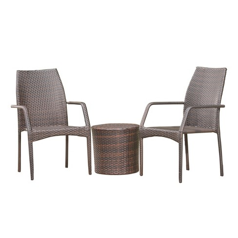 Downing 3pc Wicker Chat Set - Multibrown - Christopher Knight Home - image 1 of 4