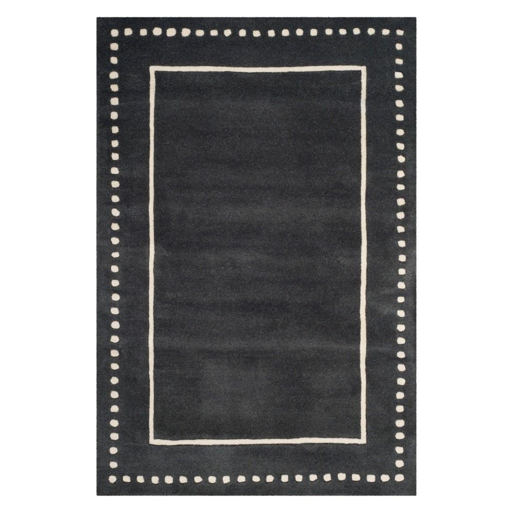 4'X6' Solid Area Rug Dark Gray/Ivory - Safavieh