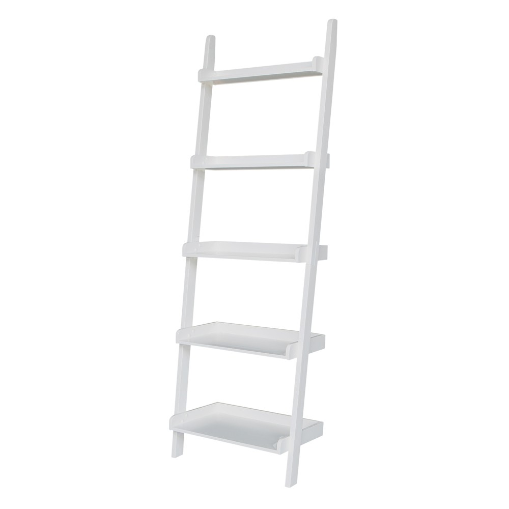 75 5 34 5 Tier Solid Wood Leaning Bookshelf White International Concepts