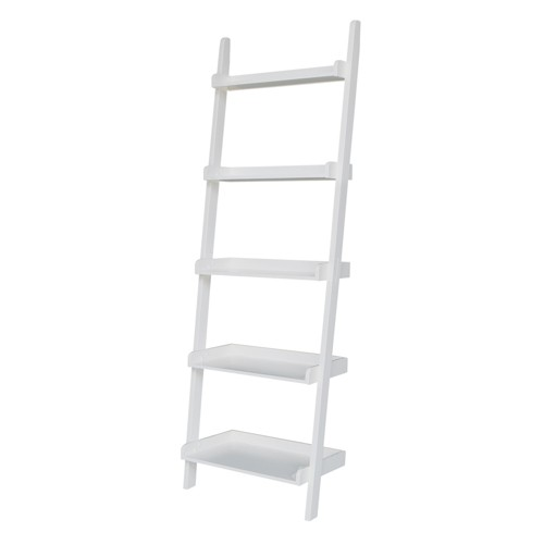 '72.25'' 5 Tier Solid Wood Leaning Bookcase White - International Concepts'