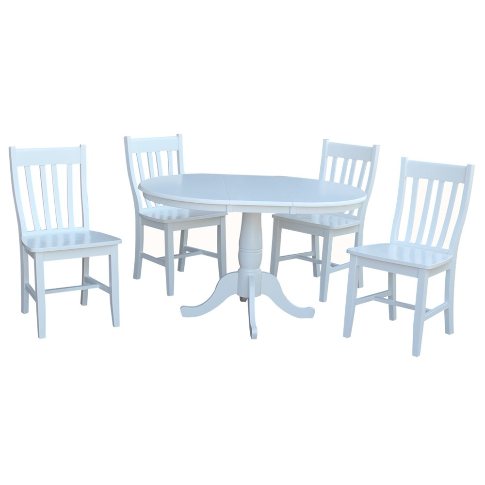 36 5pc Astrid Round Extension Dining Table with 4 Cafe Chairs Set White - International Concepts
