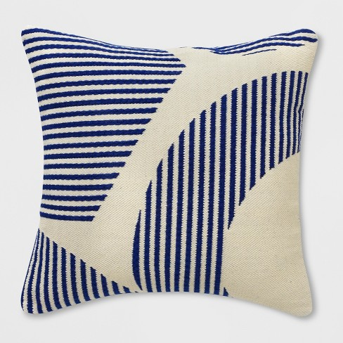 Square Curve Stripe Outdoor Pillow Blue - Project 62™ - image 1 of 1