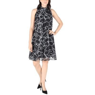Robbie Bee | Chiffon Leaf Print Sleevless Mock Neck Dress