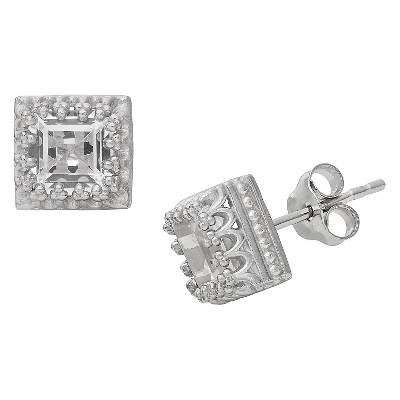 Sterling Silver Princess-cut Gemstone Crown Earrings