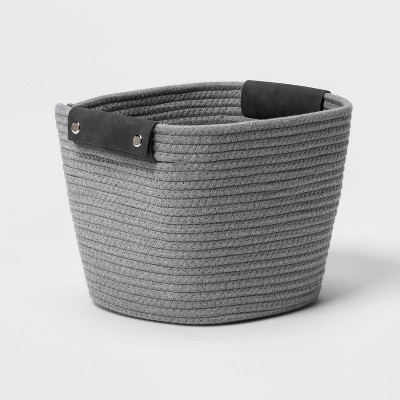 "11"" Square Coiled Rope Basket Gray - Threshold™"