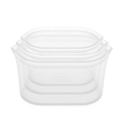 Zip Top Reusable 100% Platinum Silicone Container - 3 Dish Set (S/M/L)