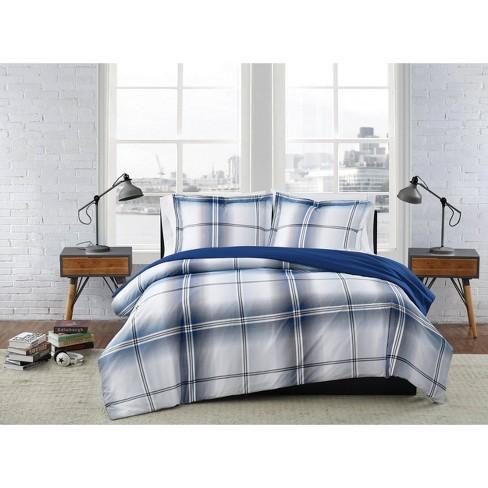 King 3pc Nolan Houndstooth Stripe Comforter Set - London Fog - image 1 of 3